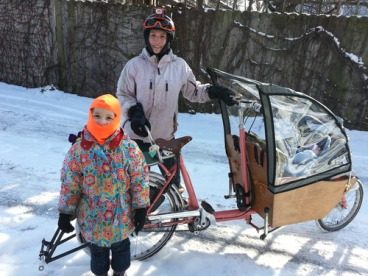 cargo bike in snow